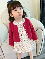 Girls' Solid Floral Sets,Cotton Spring Winter Long Sleeve Clothing Set