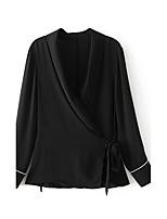 Для женщин На выход На каждый день Лето Осень Блуза V-образный вырез,Простое Очаровательный Однотонный Длинный рукав,Хлопок Лён,Тонкая