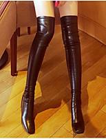 Для женщин Ботинки Удобная обувь Модная обувь Натуральная кожа Полиуретан Весна Зима Повседневные Черный На плоской подошве