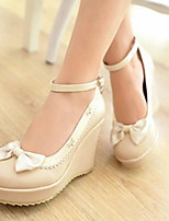 Women's Shoes Nubuck leather PU Spring Comfort Heels For Casual Black Beige Purple Blushing Pink