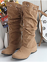 Women's Boots Comfort Fashion Boots Winter Real Leather PU Casual White Black Yellow Brown Under 1in