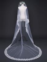 Lady's Elegant Romance Wedding Veil One-tier Chapel Veils Lace Applique Edge Lace Tulle