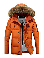 Men's Padded Coat,Simple Street chic Active Sports Plus Size Going out Casual/Daily Solid-Cotton Polyester Polyester PolypropyleneLong