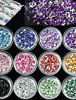 12Bottles/Set Nail Art DIY Decoration Fashion Crystal Rhinestone Colorful Sweet Design 3D Glitter Shining Rhinestone Manicure Beauty Jewelry Accessory