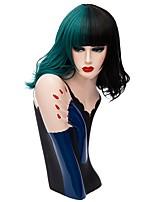 жен. Парики из искусственных волос Без шапочки-основы Средний Волнистые Черный / Темно-зеленый Парик из натуральных волос Парик для