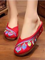 Для женщин Обувь Ткань Лето Удобная обувь Тапочки и Шлепанцы Назначение Повседневные Черный Бежевый Красный