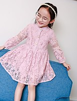 Girl's Solid Dress,Others Spring Fall Long Sleeve