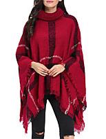Women Vintage Cloak Cape Bohemian Tassels Fringed Shawl Wrap Scarf Wool Acrylic Rectangle Plaid Spring Fall Red/Black/White/Yellow/Dark Grey
