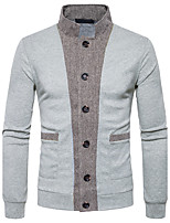 Men's Sports Going out Vintage Simple Street chic Regular Cardigan,Color Block Shirt Collar Long Sleeves Cotton Spring Fall Medium