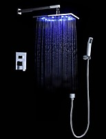 Contemporary Design LED Wall Mounted Rain Shower Handshower Included Chrome Finish Bathroom Tap Shower Faucet Set
