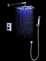 Современный LED На стену Дождевая лейка Ручная лейка входит в комплект Настенное крепление with  Керамический клапан Хром , Смеситель для