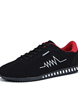 Men's Sneakers Comfort Light Soles Spring Fall PU Casual Lace-up Flat Heel Black Gray Black/Red Flat