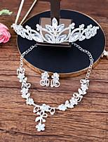 Women's Necklace Front Back Earrings Rhinestone Geometric Rhinestone Alloy Geometric For Wedding Wedding Gifts