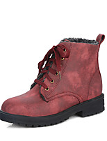 Women's Boots Combat Boots Winter Leatherette Casual Dress Lace-up Low Heel Black Yellow Army Green Ruby 1in-1 3/4in