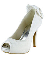 Women's Wedding Shoes Basic Pump Stretch Satin Spring Summer Wedding Dress Bowknot Stiletto Heel Ivory 4in-4 3/4in