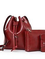 Mujer Bolsos Todas las Temporadas PU Redondas Conjuntos de Bolsa con Tira para impedir el descalzado para Casual Negro Rojo Gris Marrón