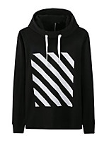 Men's Casual/Daily Hoodie Striped Hooded Micro-elastic Cotton Long Sleeve Spring Fall
