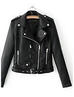 Для женщин На выход На каждый день Осень Зима Кожаные куртки Лацкан с тупым углом,Простой Уличный стиль Однотонный Обычная Длинный рукав,