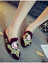 Для женщин Тапочки и Шлепанцы Удобная обувь Лето Ткань Повседневные Черный Бежевый Красный На плоской подошве