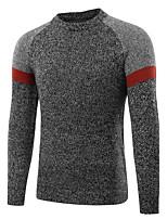 Herren Standard Pullover-Lässig/Alltäglich Arbeit Einfach Aktiv Chinoiserie Einfarbig Rundhalsausschnitt Langarm Baumwolle Herbst Winter