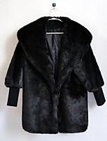 Для женщин На каждый день Осень Зима Пальто с мехом Воротник шалевого типа,Простой Однотонный Длинная Длинный рукав,Кроличий мех