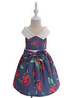 Girl's Solid Floral Dress,Cotton All Seasons Sleeveless