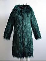 Для женщин На каждый день Осень Зима Пальто с мехом Капюшон,Простой Однотонный Длинная Длинный рукав,Лисий Мех