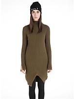 Для женщин На каждый день Простое Длинный Пуловер Однотонный,Хомут Длинный рукав Шерсть Хлопок Полиэстер Осень Зима Толстая