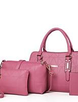 Mulher Bolsas Todas as Estações Couro Ecológico Conjuntos de saco com Ziper para Casual Esportes Azul Branco Preto Vermelho Rosa