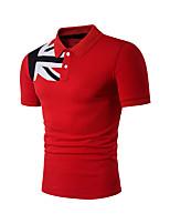 Men's Casual/Daily Simple Summer Polo,Color Block Shirt Collar Short Sleeves Spandex