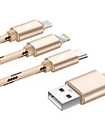 USB 2.0 Cabo adaptador, USB 2.0 to USB 2.0 Tipo C Micro USB 2.0 Lightning Cabo adaptador Macho-Macho 1.2m (4Ft)