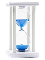 POSCN 30 Minutes Durable Glass  Hourglasses White Wood Sand Timer for Time Management LP9007-0011