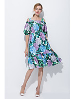 STEPHANIE Women's Going out Casual/Daily Cute Loose Sheath DressFloral Boat Neck Midi Knee-length Half Sleeve Silk Summer Mid Rise Micro-elastic