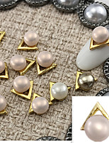 5PCS 10mmX10mm Fashion  Pearl Inlay  Alloy Accessories Nail Art Decoration Jewelry Charms