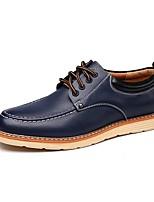 Для мужчин Туфли на шнуровке Удобная обувь Весна Лето Осень Зима Кожа Повседневные Шнуровка На плоской подошве Черный Коричневый Синий На
