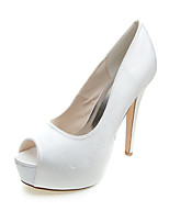 Femme Chaussures de mariage Chaussures formelles Printemps Eté Satin Mariage Soirée & Evénement Talon Aiguille Blanc Bleu 10 à 12 cm