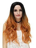Femme Long Bleu Cuivre Brun Rose / Vert Silver Purple Or rose Cheveux Synthétiques Sans bonnetPerruque Naturelle Perruque de fête