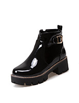 Women's Boots Fashion Boots PU Fall Winter Casual Party & Evening Dress Fashion Boots Chunky Heel Ruby Black 1in-1 3/4in