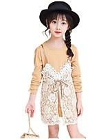 Girls' Solid Jacquard Sets,Cotton Fall All Seasons Long Sleeve Clothing Set