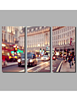 London Street Scene Painting For Modern Home Wall Art Decor Posters Landscape Prints HD Large 3Panels Framed Beautiful Night Scenery Murals