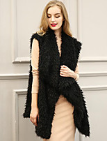 Women's Going out Simple Fall Winter Vest,Solid Shirt Collar Sleeveless Long Faux Fur