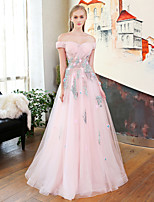 A-Line Princess Off-the-shoulder Floor Length Lace Satin Tulle Rehearsal Dinner Formal Evening Dress with Flower(s) Lace Side Draping