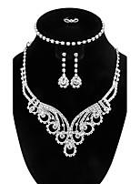 Femme Bracelets Rigides Boucles d'oreille goutte Collier Strass Zircon cubique Vintage Bijoux de Luxe Elegant Zircon Forme Géométrique