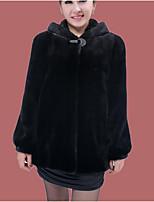 Women's Casual/Daily Cute Winter Fur Coat,Solid Hooded Long Sleeve Long Fox Fur