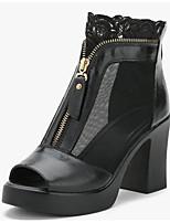 Для женщин Обувь на каблуках Удобная обувь Туфли лодочки Дышащая сетка Полиуретан Лето Повседневные Черный 4,5 - 7 см
