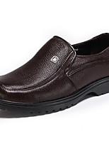 Для мужчин Мокасины и Свитер Удобная обувь Весна Осень Кожа Повседневные Черный Темно-коричневый На плоской подошве