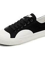 Men's Sneakers Comfort Spring Summer Fabric Casual Outdoor Lace-up Flat Heel White Black Black/White Flat
