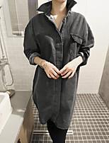 Feminino Jaqueta jeans Para Noite Simples Inverno,Sólido Longo Poliéster Lapela Chanfrada Manga Longa