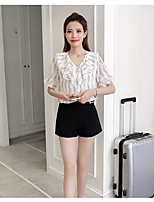 Women's Going out Casual/Daily Cute Summer Blouse,Print V Neck Short Sleeve Others