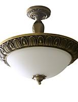 Traditional Artistic Brass 3 Light Flush Mount Ceiling Fixture